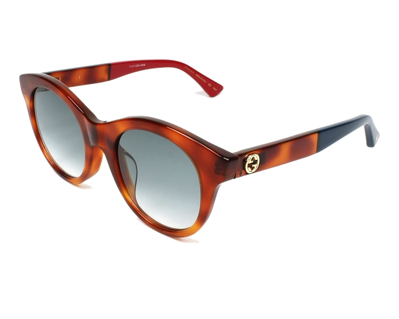 534f7cfe169 Amazon.com  Gucci sunglasses (GG-0169-SA 004) Transparent Havana - Red -  Blue Grey Gradient lenses  Clothing