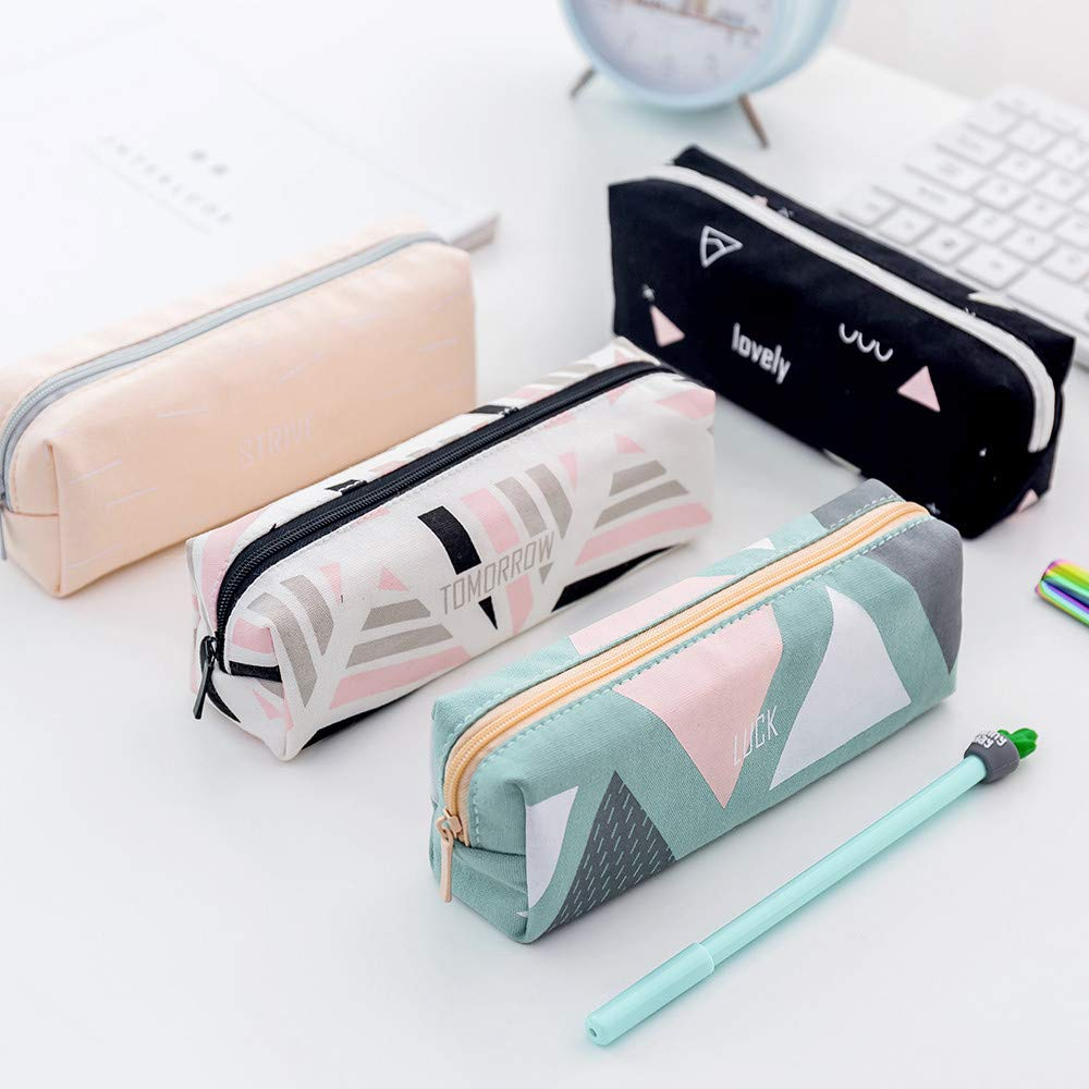 Pencil Case with Zipper | Large Capacity Geometric Pencil ...