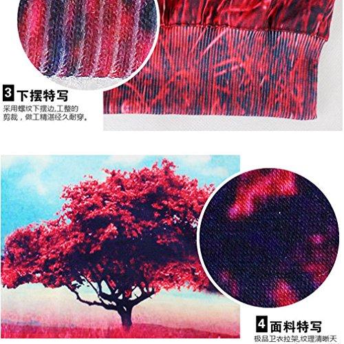 Thenice - Sudadera - Animal Print - Manga Larga - para mujer Red Tree leaves