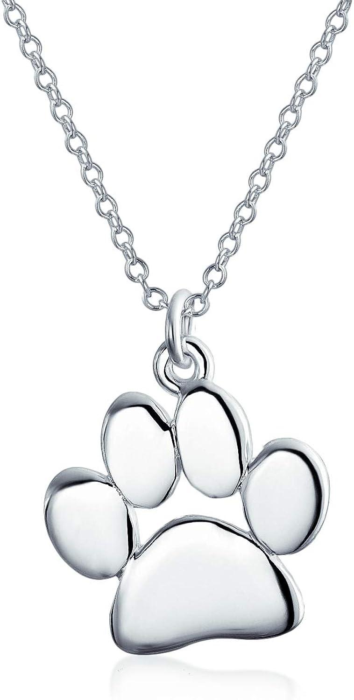 Dainty perro gato gato gato perro pata impresión colgante collar joyería animal para las mujeres adolescente pulido rosa amarillo oro plateado 925 plata de ley