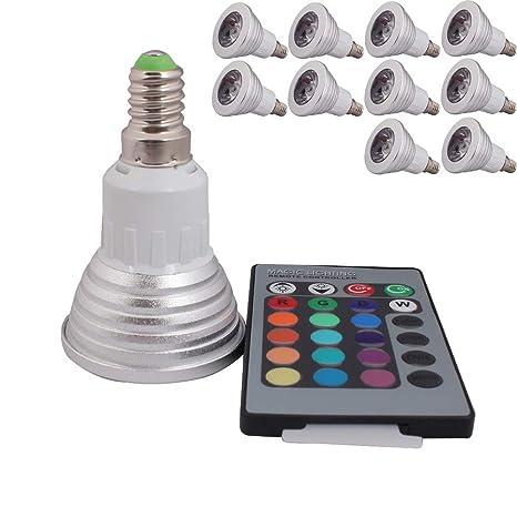 10 x 3 W E14 Control Remoto LED RGB Bombilla & Bombillas SMD LED Luz Foco