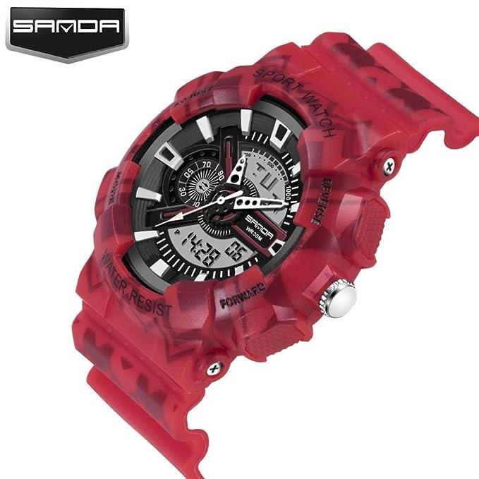 Amh de Sanda de 999 estilo completo saludable Lifestyle Reloj Deportivo Lujo Doble Pantalla Luz Fría electrónica Agua Densidad Hombre Mujer Teen Joven ...