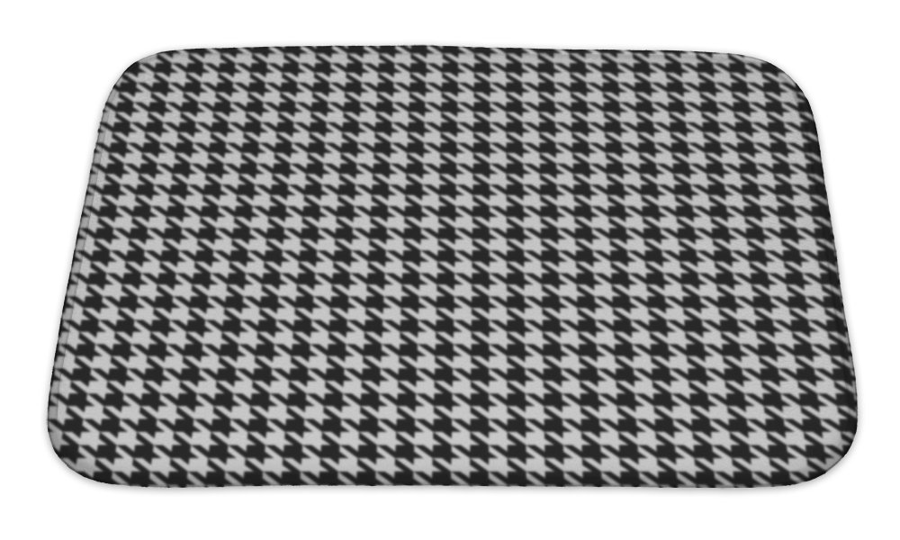 "Gear New Black-White Houndstooth - Bath Mat, Microfiber, Foam With Non Skid Backing, 24""x17"", GN9287"