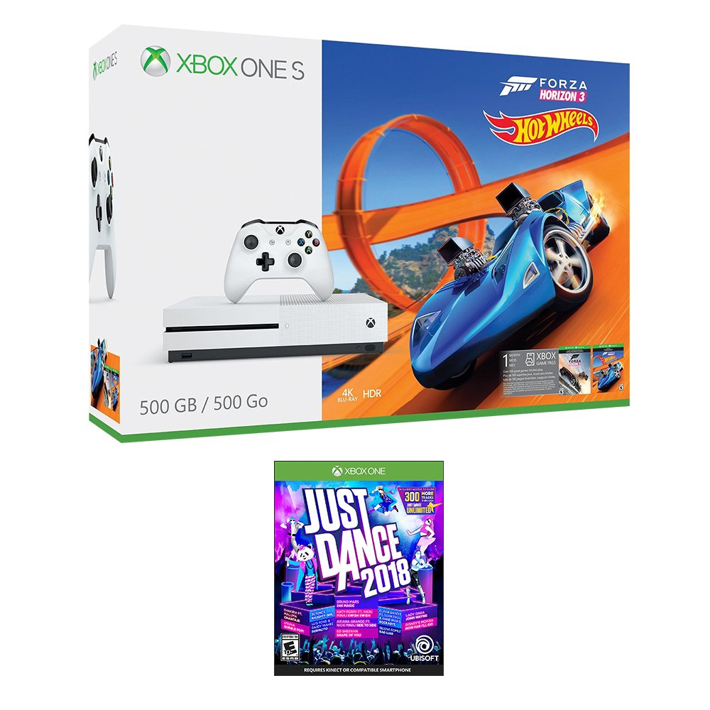 Xbox One Just Dance Racing Bundle (2 Items): Xbox One S 500GB Console with Forza Horizon 3 Hot Wheels and Just Dance 2018 Game
