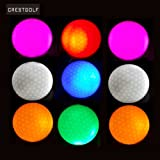 4 Pieces Crestgolf LED Light Up Golf Balls Night Golf Ball Official Size Glow In Dark Perfect for Golf Practice Long Range and Distance Shots(pink/red/blue/green)