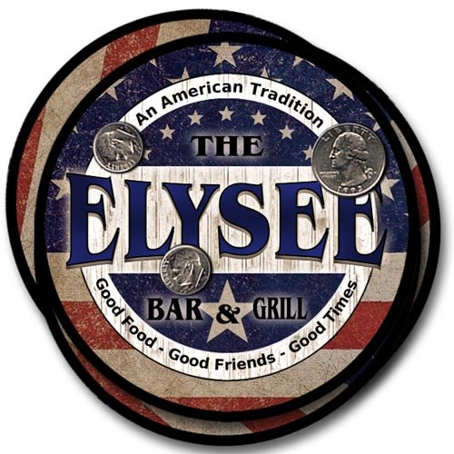 Elysee Family Bar and Grill Rubber Drink Coaster Set - Patriotic Design