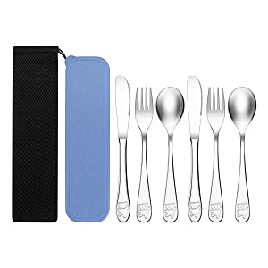 Kirecoo 6 Piece Stainless Steel Kids Silverware Set, Flatware Cutlery Set with Storage Case & Pouch for Toddler Preschooler Chlid - 2 Spoons 2 Forks 2 Knives, Dishwasher Safe Metal Toddler Utensils