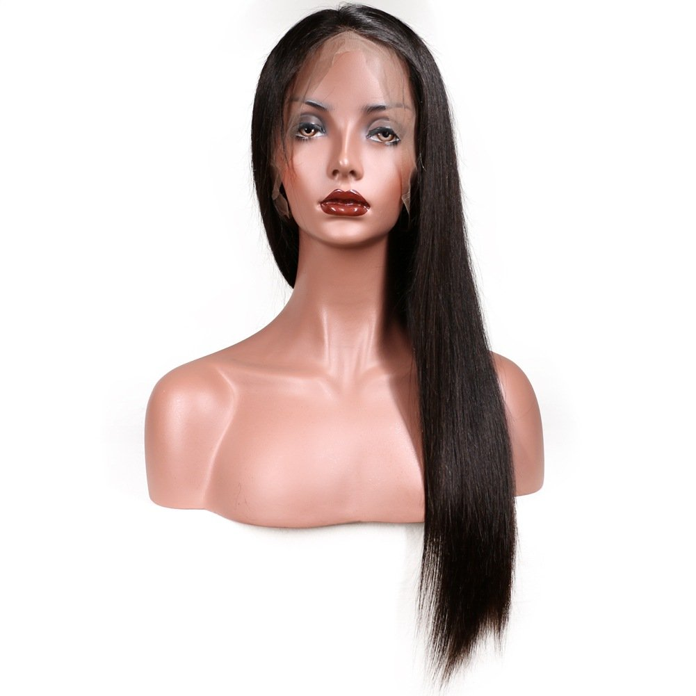 KeLang Brazilian Virgin Human Hair Lace Front Wigs for Black Women Long Straight Pre Plucked Glueless Human Hair Wigs With Baby Hair And Bleached knots 130% Density Natural Black color (Lace Front 16) by KeLang (Image #4)