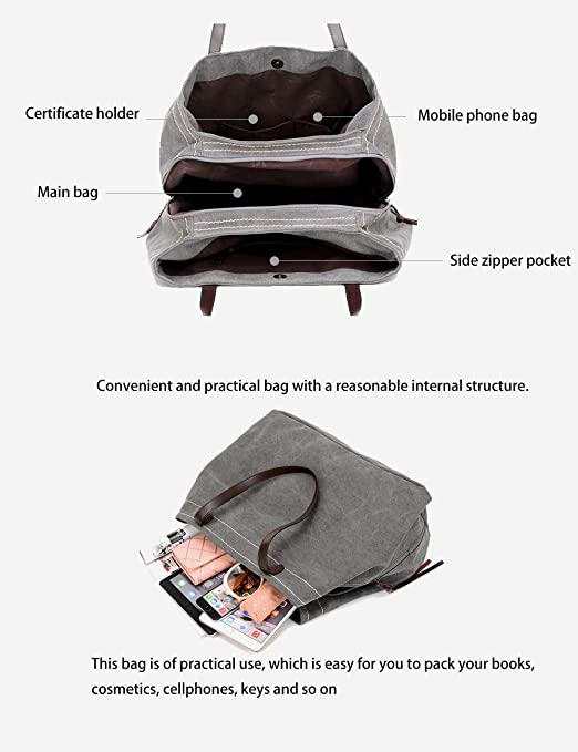 G-AVERIL Womens Large Shopping Bag Handbags Canvas Hobos Tote Bag Totes Shopping Bags Ladies Handbags Wine