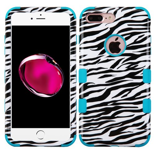3 Piece Zebra (For iPhone 8 Plus Case, Kaleidio [TUFF] Hybrid Armor 3-Piece [Shock/Impact Protection] Dual Layer Rubber Cover for Apple iPhone 8 Plus [Includes a Overbrawn Prying Tool] [Zebra Pattern])