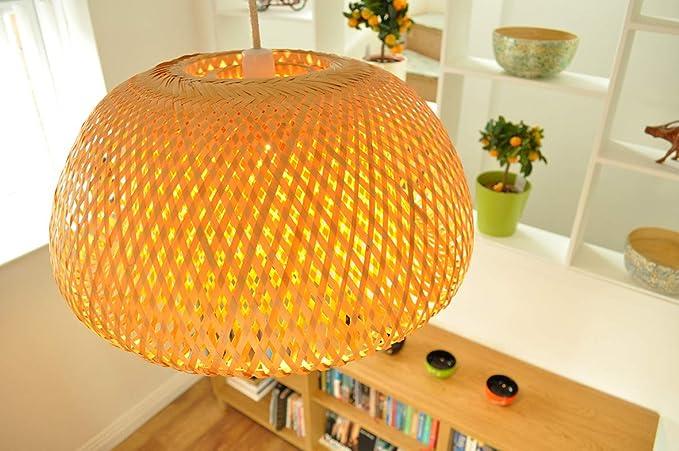 Lámpara de ratán hecha a mano, colgante o pantalla de mesa, forma ...