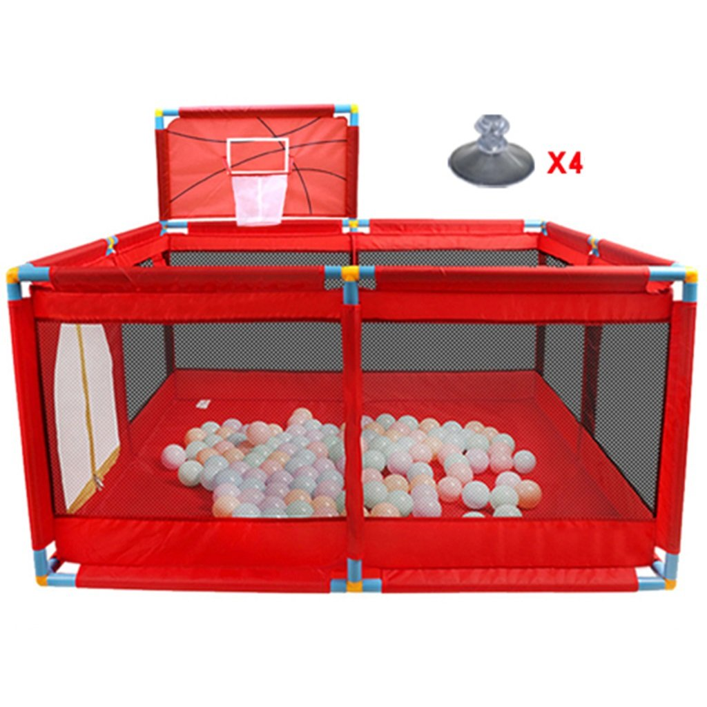 Large Baby Playard with Balls and Basketball Hoop, Indoor Outdoor Oxford Cloth Plastic Toddler Playpen Fence (Size : Playpen)