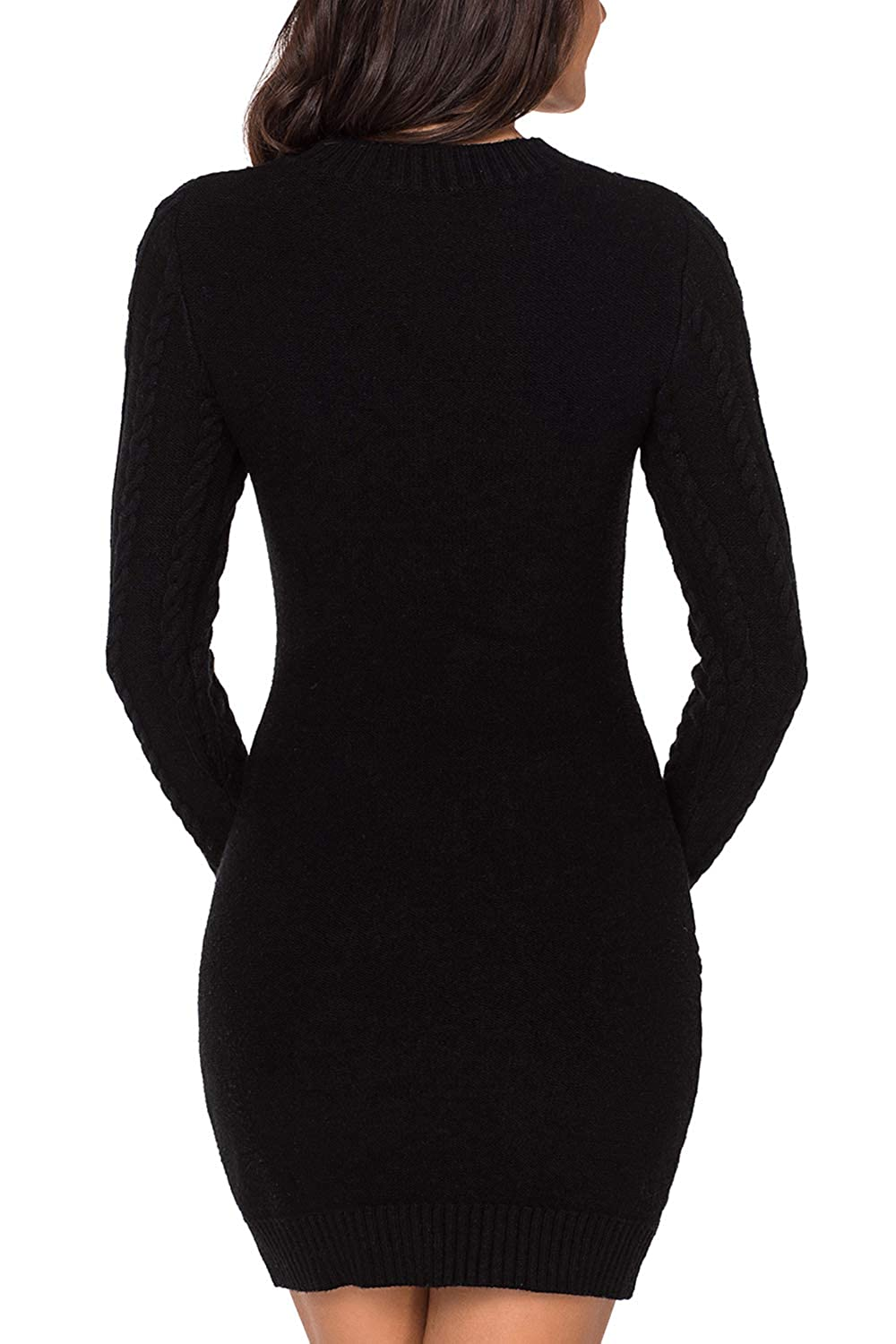 db0138a4137 LaSuiveur Women s Slim Fit Cable Knit Long Sleeve Sweater Dress at Amazon  Women s Clothing store