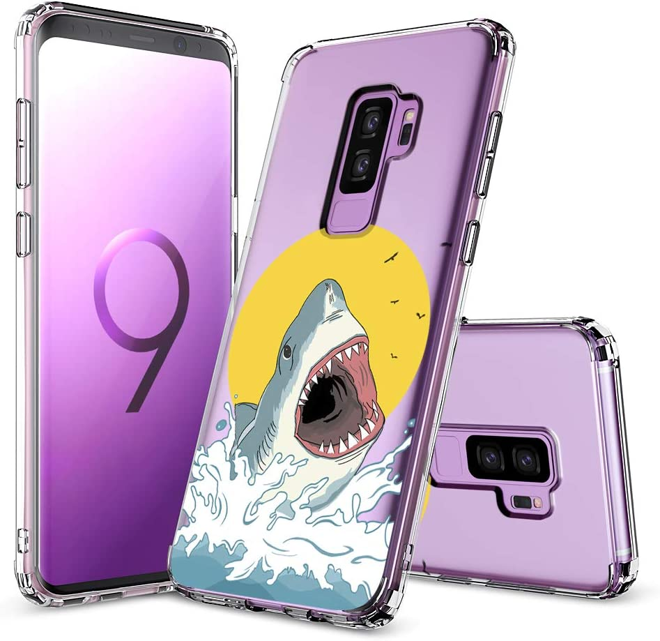 MOSNOVO Galaxy S9 Plus Case, Shark Pattern Clear Design Transparent Plastic Hard Back Case with TPU Bumper Protective Case Cover for Samsung Galaxy S9 Plus