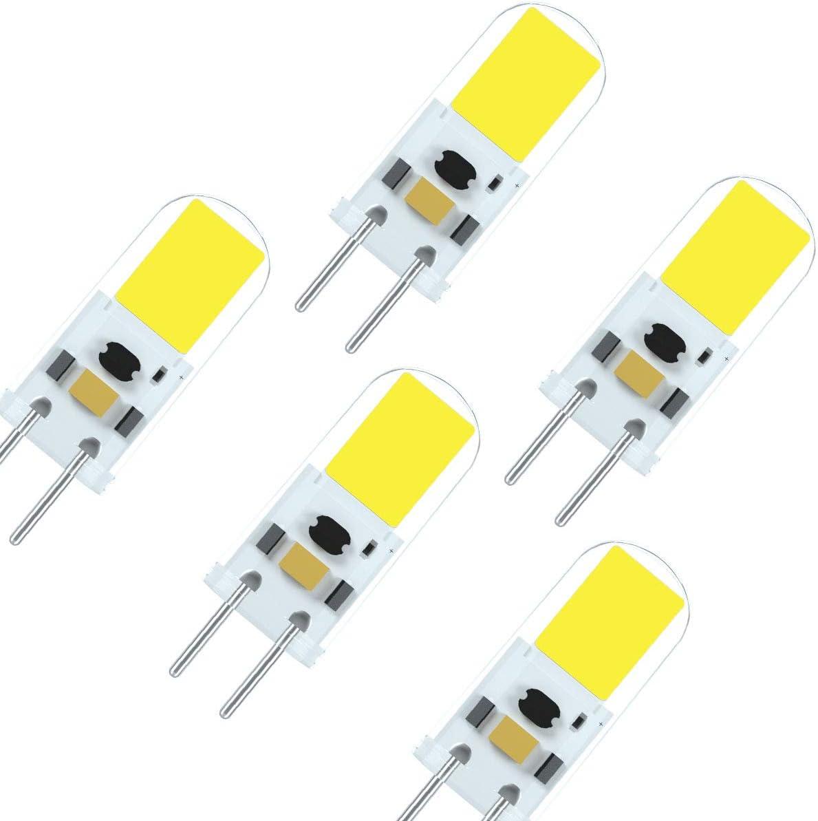 7117 Último G6.35 GY6.35 LED 4W 12V Bombilla Equivalente de Alto Brillo 40 Vatios Lámpara Halógena Blanco Frío 6000K (5 Paquetes)