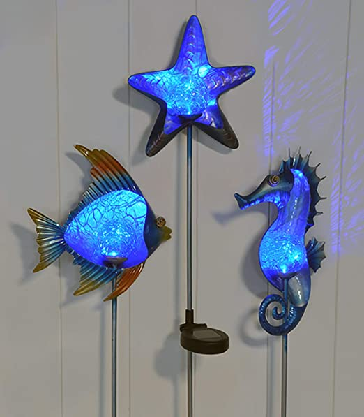 Gyd Solar Gartenstecker Maritim In 3 Designs Fisch Stern Und Seepferdchen 3er Set Led Solar Inkl Erdspiess Me Amazon De Kuche Haushalt