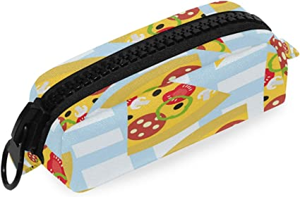Bolso Bolígrafo Estuche para lápices Piezas de pizza con patrón de salami Bolso grande con cremallera Bolsa de oficina escolar: Amazon.es: Oficina y papelería