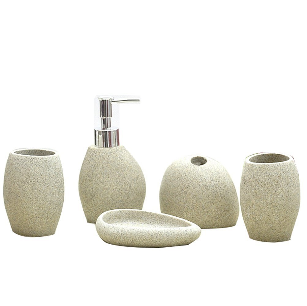 VIC-Decor,Country Style Resin 5PC Bathroom Accessories Set Soap Dispenser/Toothbrush Holder/Tumbler/Soap Dish : Simple Stone Design