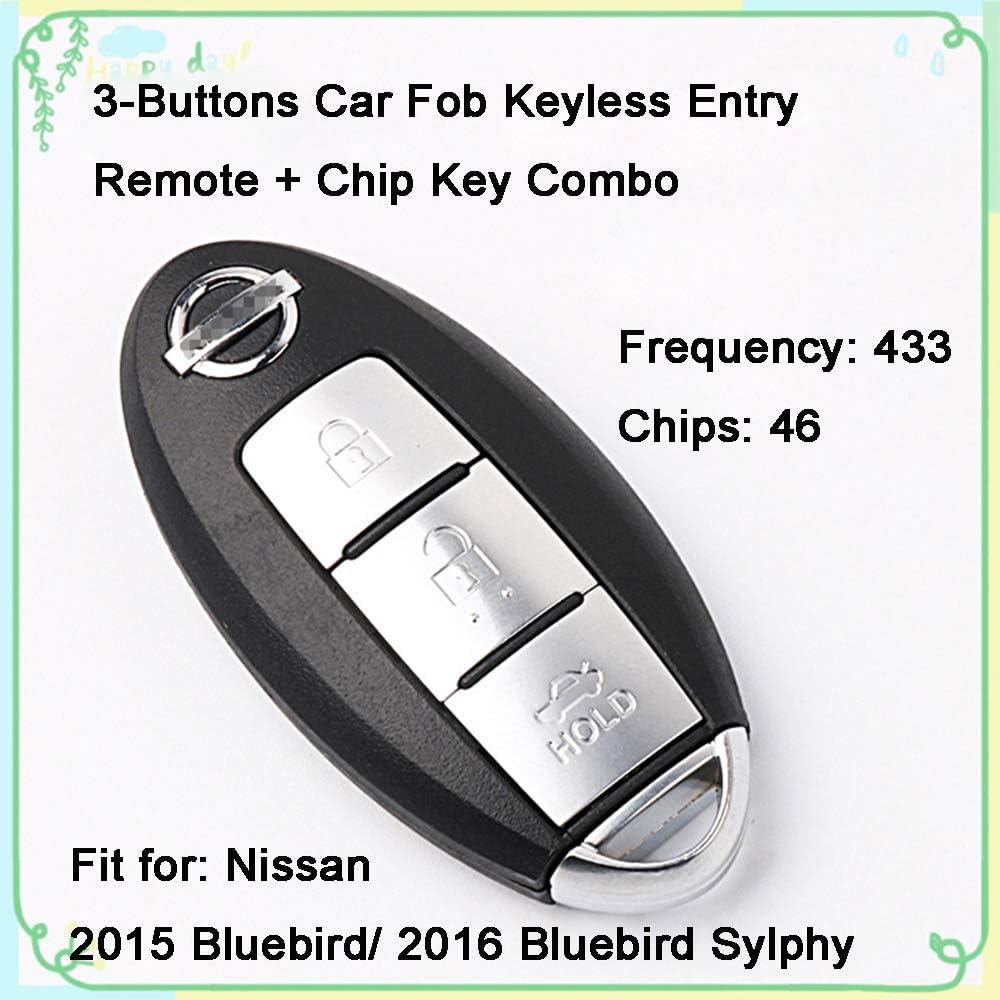 1 Sets 3 Buttons 433Hz Car Key Fob Keyless Entry Replacement Intelligent Smart Card Alarm Key Programmer Remote Control /& Uncut 47 Chips Key Combo for Nissan Infiniti Q50L QX30 QX50 QX60 Q50S JX35 ESQ