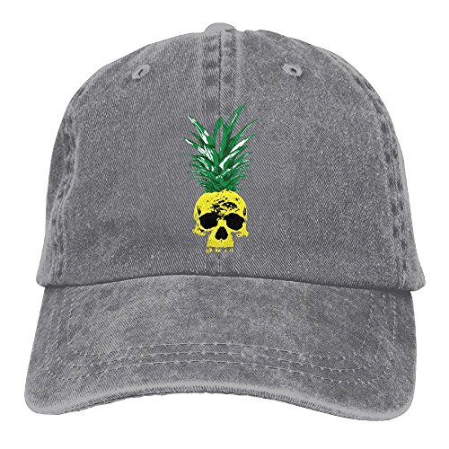 Qbeir Skull Pineapple Adjustable Adult Cowboy Cotton Denim Hat Sunscreen Fishing Outdoors Retro Visor Cap]()