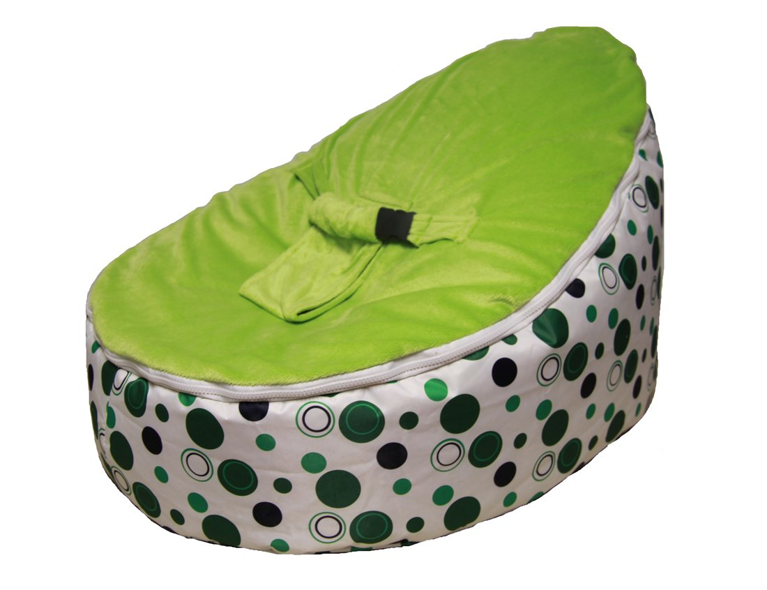 Amazon SnuggleRoo Baby Bean Bag Chair FILLED And WATERPROOF Green Polka Dots Infant Sitting Chairs
