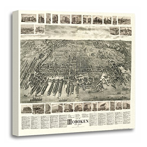 TORASS Canvas Wall Art Print Location Hoboken Nj Panoramic Map United Artwork for Home Decor 20