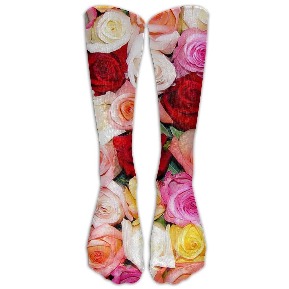 d7d5425a9cde7 Amazon.com: High Boots Crew Pastel Roses Compression Socks ...