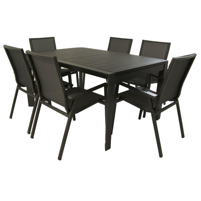 Conjunto para terraza, Mesa Extensible de 160/220 cm y 6 sillones ...