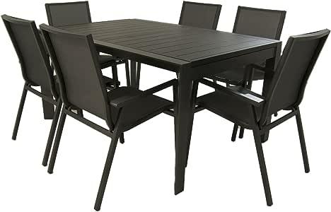 Conjunto para terraza, Mesa Extensible de 160/220 cm y 6 sillones jardín apilables con Respaldo de 90 cm, Aluminio Color Antracita, 6 plazas: Amazon.es: Jardín