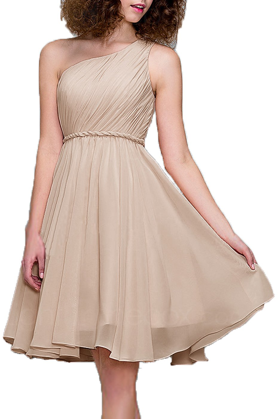 99Gown Bridesmaid Dresses Short Cocktail Dress One Shoulder Prom Formal Dresses For Women, Color Champagne,4