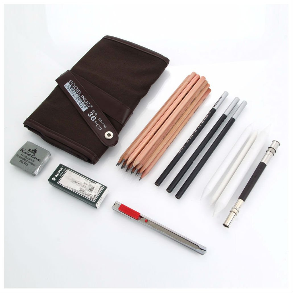 29pcs Charcoal Sketch Drawing Pencils Set Extender Eraser Cutter Erase Carry Bag NOT APPLICABLE