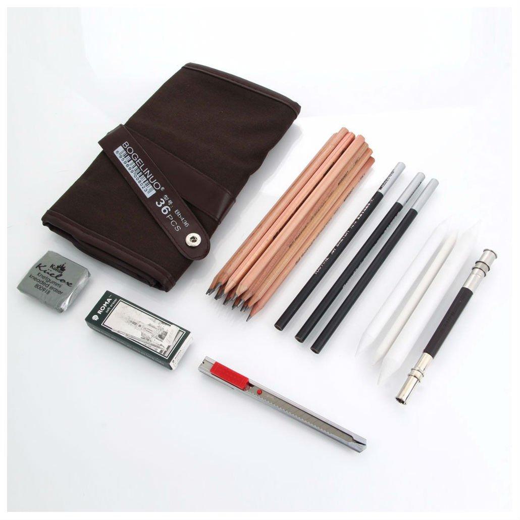 29pcs Charcoal Sketch Drawing Pencils Set Extender Eraser Cutter Erase Carry Bag