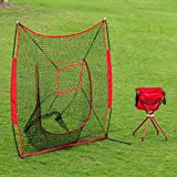 Popsport 7 x 7 Baseball Net Portable Softball Hitting Pitching Net Baseball Practice Nets Batting Throwing Practice Tool with Carry Bag for Outdoor Activities