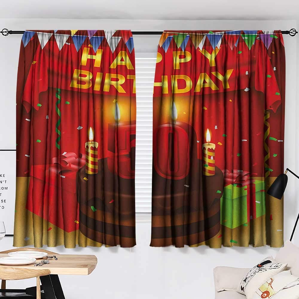 50th Birthday Curtain Kids Chocolate Cake with Number Candles Presents Confetti Ribbons and The Flags livingroom Darkening Curtains Multicolor W55 x L39 by Jinguizi (Image #2)