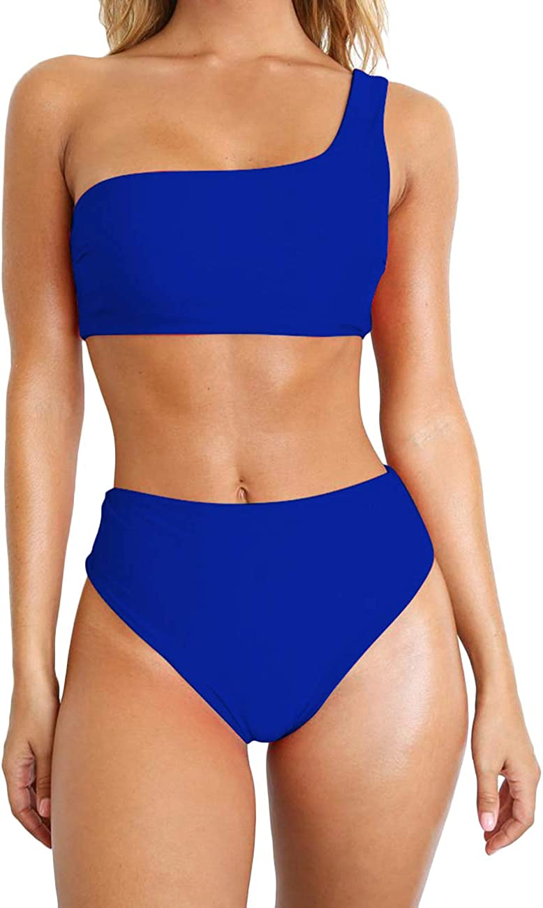 Kalin Women Padded One Shoulder Bikini High Waist 2 Piece Swimwear Bathing Suit