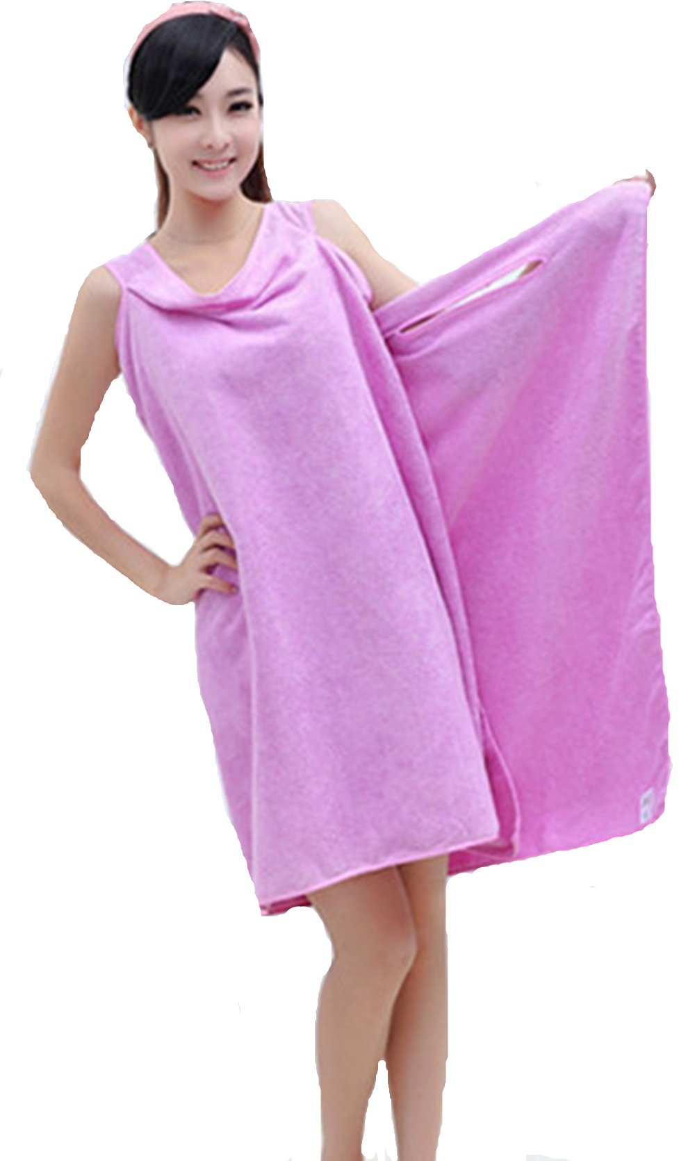 Magic Multi Sexy Women Lady Travel Body Wrap Absorbent Microfiber Shower Bath Drying Terry Towel Spa Bikini Cover Up Beach Skirt Dress Bathrobe Robe (Purple)