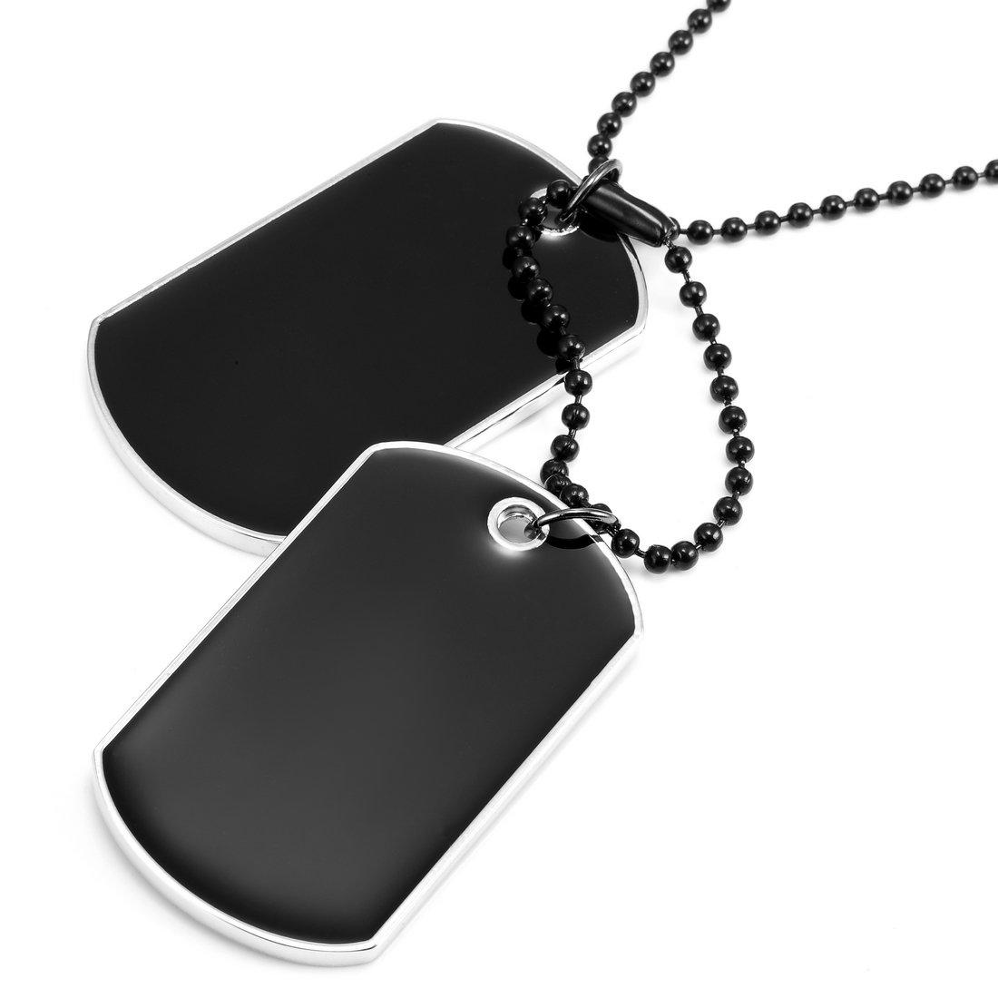 Collier viril pour hommes style armée pendentif double dog tag, chaîne biker noire 68 cm ajustable (noir, argent) Urban-Jewelry AC1238 U
