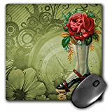 3dRose LLC 8 x 8 x 0.25 Inches Mouse Pad, Vintage Victorian Steampunk Roller Skate Boot with Red Rose Clock Background (mp_102680_1)