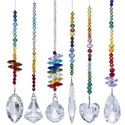 H&D Colorful Crystals Glass Pendants Chandelier Suncatchers Prisms Hanging Ornament Octogon Chakra Crystal Pendants for Home, Office, Garden Decoration, Pack of 6 : Garden & Outdoor