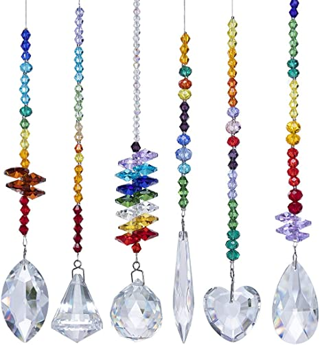 Crystals Suncatcher Prisms Hanging Ball Ornament Chakra Colorful Pendants Decor