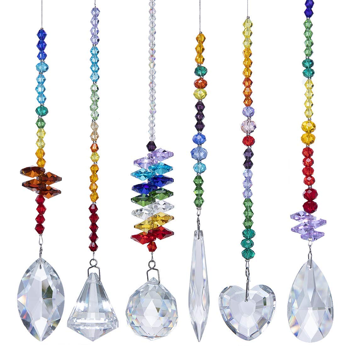 H&D Colorful Crystals Glass Pendants Chandelier Suncatchers Prisms Hanging Ornament Octogon Chakra Crystal Pendants for Home,Office,Garden Decoration,Pack of 6
