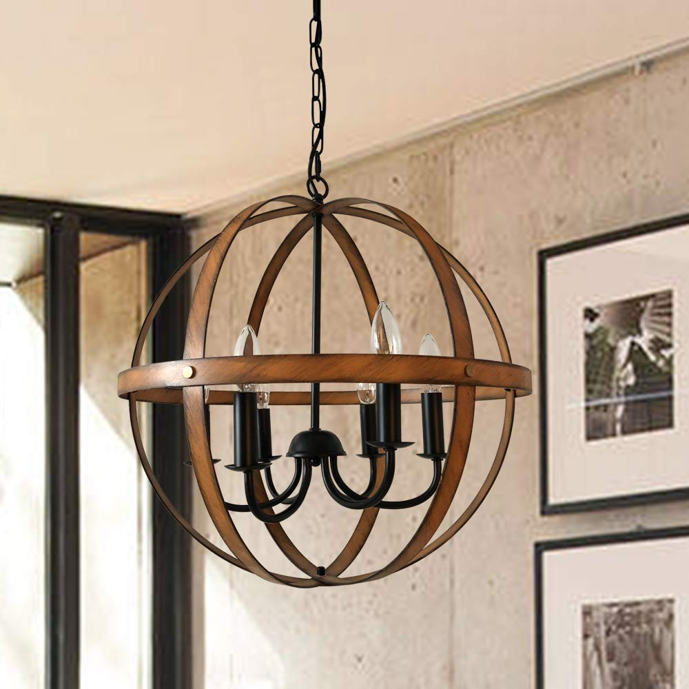AICCOA Rustic Modern Farmhouse Chandelier Lighting Sphere Orb Ceiling Light Fixture Pendant Chandelier for Dining Room Entryway Bathroom Bedroom Wood Metal Cage Oil Rubbed Bronze Finish Barnwood by AICCOA (Image #1)