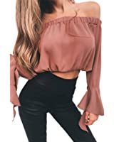LILICAT_Bekleidung LILICAT Mode Damen Aus Schulter Sommer Crop Tops Solide Shirts Langarm T-Shirt Frauen Casual Bluse Plissee Tunika