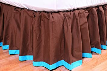 Bedding Bacati Valley of Flowers Brown with Fuschia Band Twin Bed Skirt