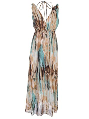 Anna-Kaci S/M Fit Multicoloured Watercolors Print Gathered Shoulders Maxi Dress