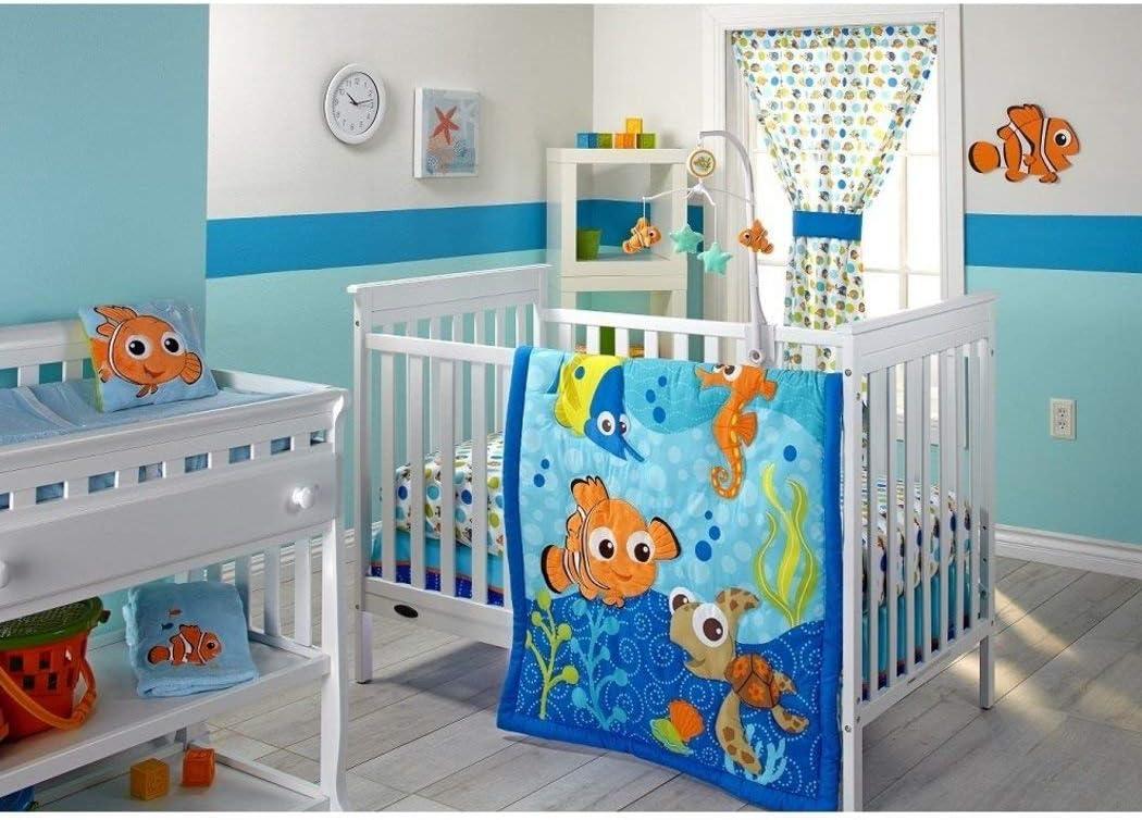 3 PieceブルーオレンジグリーンFinding Nemoベビーベッド寝具セット、新生児Disney Themed Nurseryベッドセット幼児子かわいい動物Nautical Ocean Water Fish Pixar Reef毛布掛け布団、綿ポリエステル