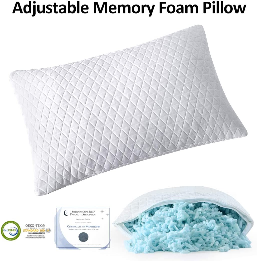 EDILLY Shredded Memory Foam Pillows Adjustable Cooling Hypoallergenic Gel Bed Pillows for Sleeping, Washable Cover from Bamboo Derived Rayon-CertiPUR-US/Oeko-TEX Certified-Queen Size