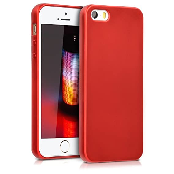 best sneakers 64f32 e9f8b kwmobile TPU Silicone Case for Apple iPhone SE / 5 / 5S - Soft Flexible  Shock Absorbent Protective Phone Cover - Metallic Dark Red