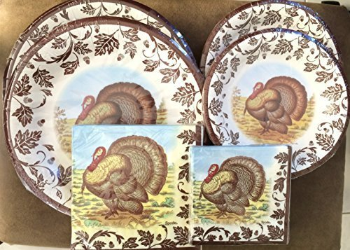 Spode/C.R. Gibson Fall Woodland Turkey Collection - Disposable Paper Plate/Napkin Bundle, 72 Pieces / Serves (Woodland Turkey Service Plate)