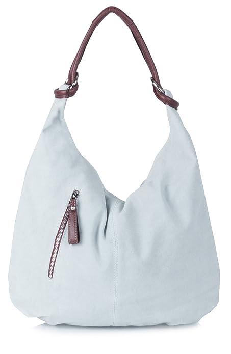 0ba33c021d Big Handbag Shop Women Real Italian Suede Leather Large Hobo Shoulder Bag -  Ice Grey